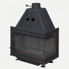 Альфа 700RB - Топка-вставка с правосторонним угловым стеклом, черный шамот