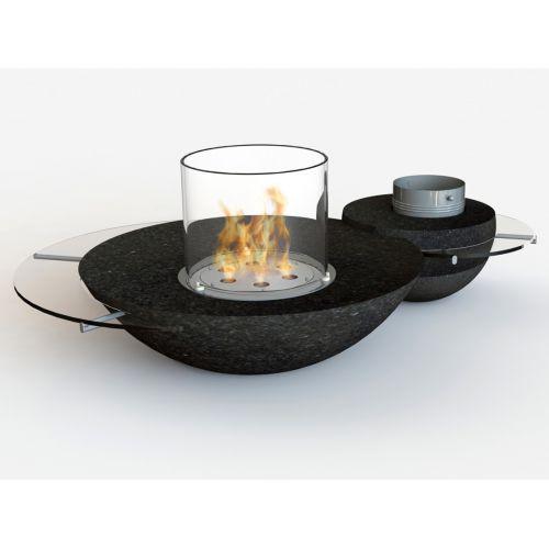 Glamm Fire Duo (Дуо) - Декоративный биокамин с основанием из черного гранита
