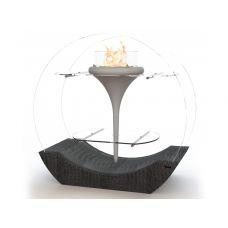 Glamm Fire O-Flut II (О-Флют II) - Дизайнерский камин с отделкой из натуральной кожи
