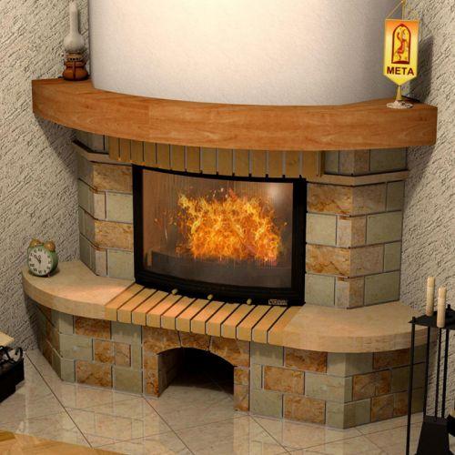Аватара 800 - угловой камин с полукруглой балкой