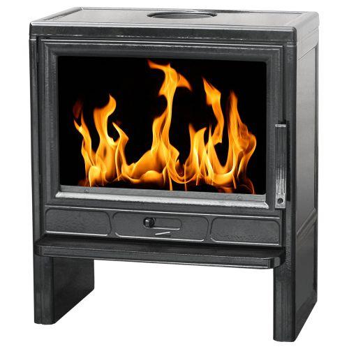 Plamen BARUN - Черная глянцевая печка с прямым жаростойким стеклом