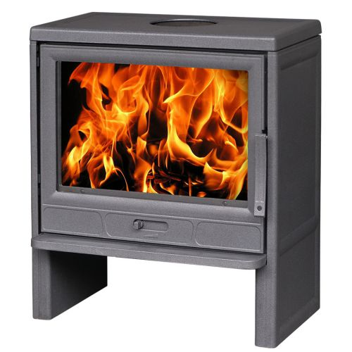 Plamen BARUN - Современная чугунная печь с большим стеклом, цвет серый