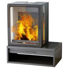 Plamen ECO MINIMAL 35 - Трехсторонняя каминная печка с вместительной дровницей