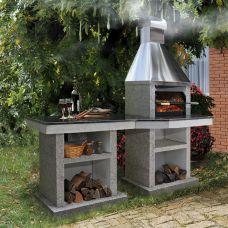 Тiana+стол (L) - уличная печь-барбекю с решеткой на 7-8 шампуров