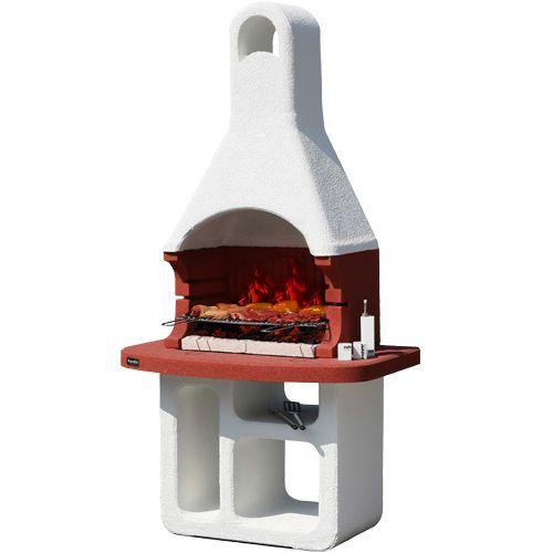 KORSIKA/SMIRNE Уличная печь с увеличенной столешницей красного цвета