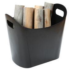 D400BK Дровница из черной кожи с прорезными ручками (Аксессуары)